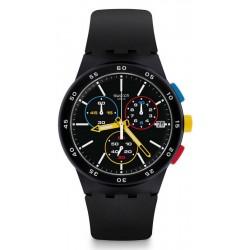 Swatch Unisex Watch Chrono Plastic Black-One SUSB416