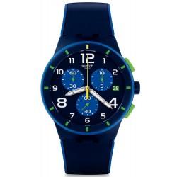 Swatch Men's Watch Chrono Plastic Bleu Sur Bleu SUSN409