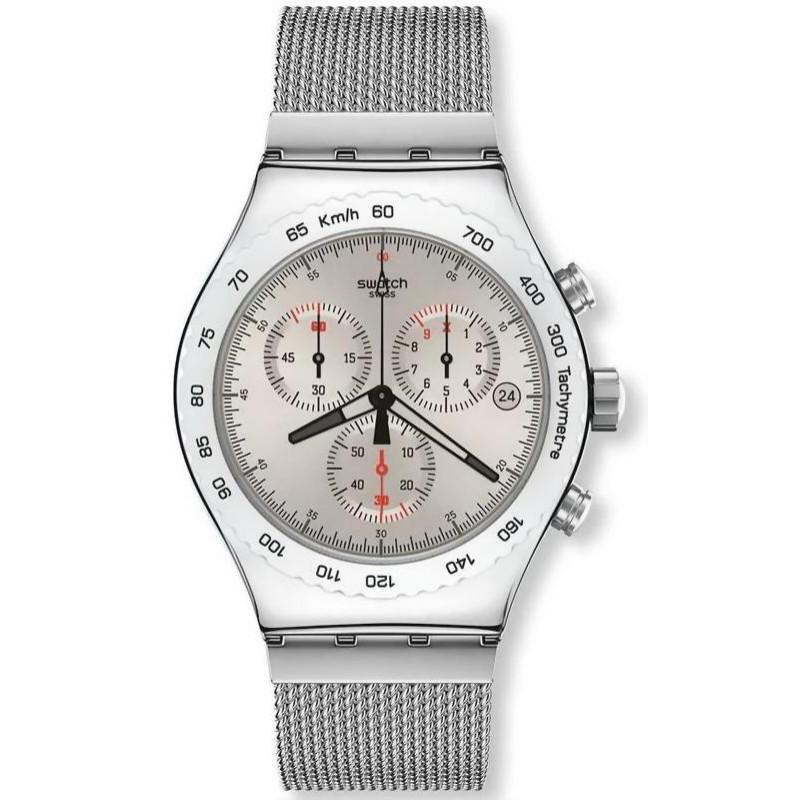 Swatch Men 's Watch Irony Chrono Silverish YVS405G
